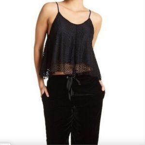 Sam Edelman |Lace Crochet Drape V Neck Crop Size M